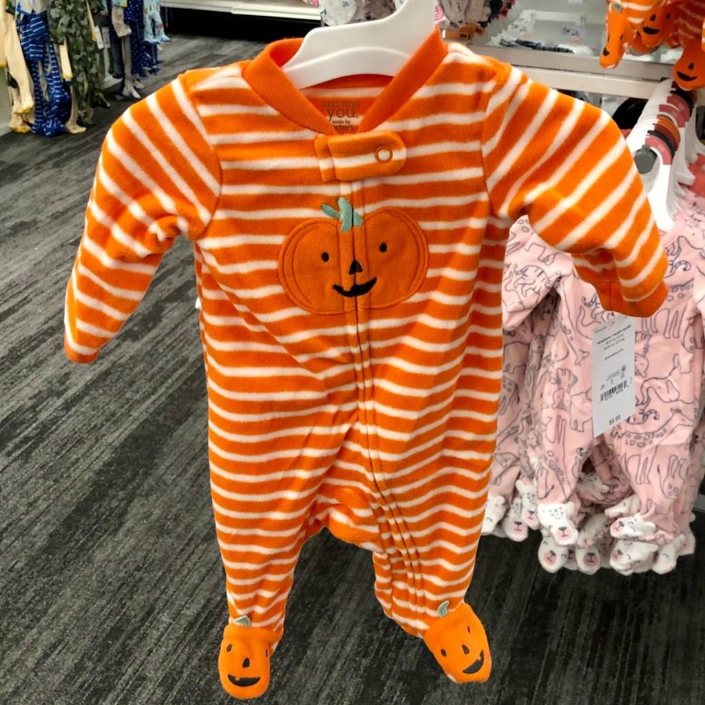 Pumpkin themed newborn baby footie pajamas
