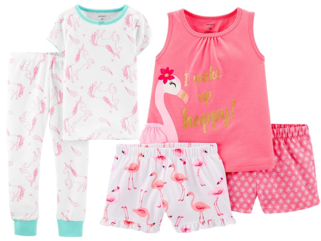 Carter's Unicorn Pajamas and Carter's Flamingo Pajamas
