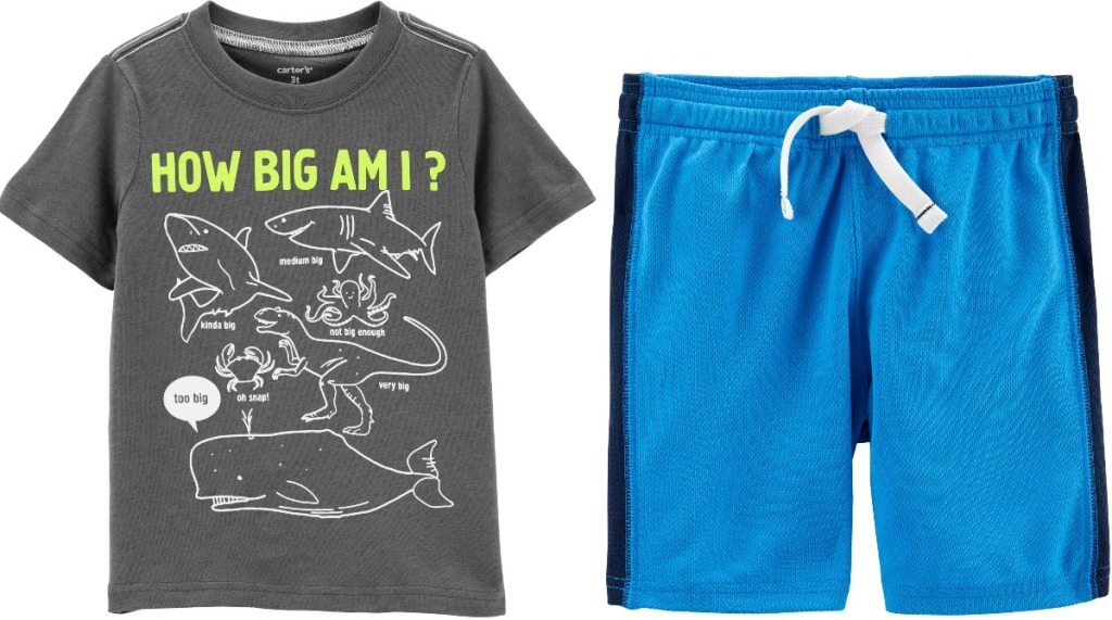 Boys apparel from Carters - shorts and tee