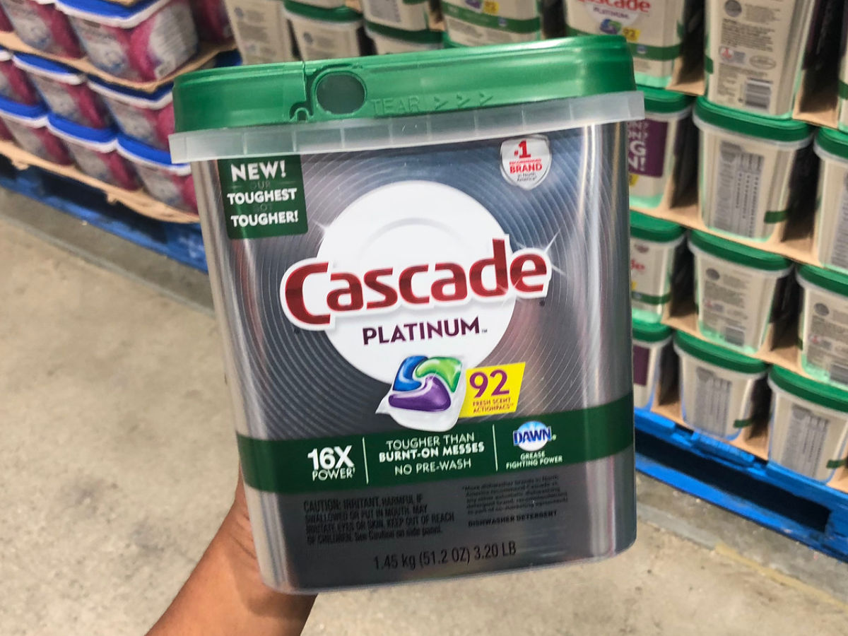 Cascade Platinum 92 count container held in store