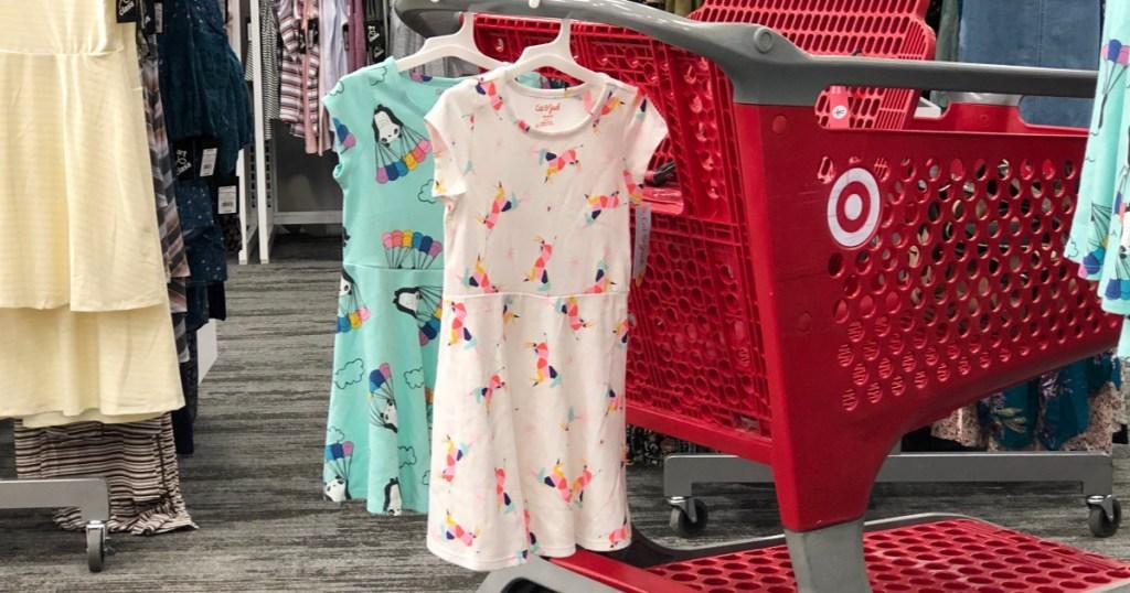 Cat & Jack Girls Dresses at Target hanging on shopping cart