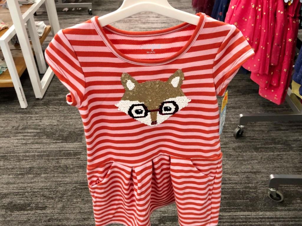 Cat & Jack Girls' Flip Sequin Fox Print A Line Dress