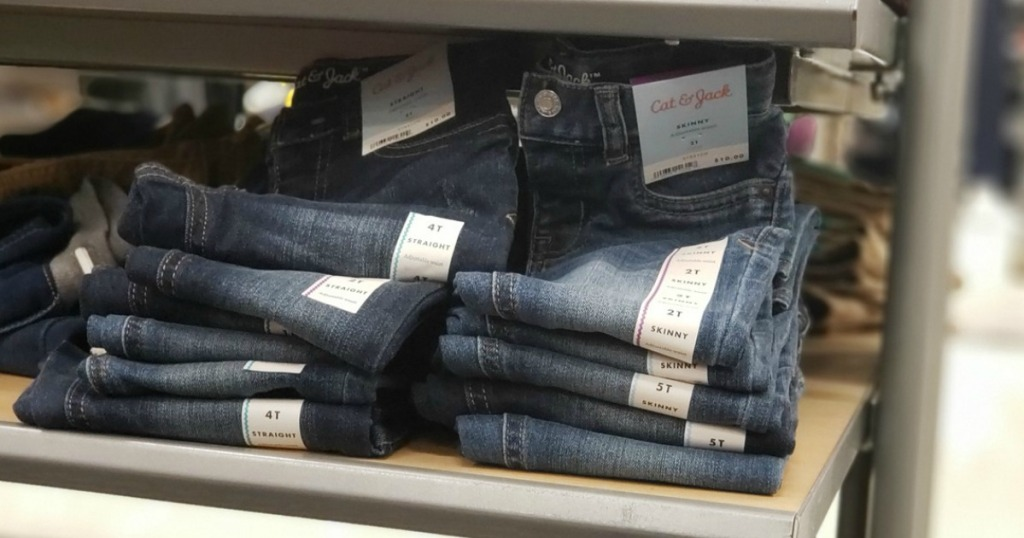 Cat & Jack Toddler Girls Jeans folden on shelf
