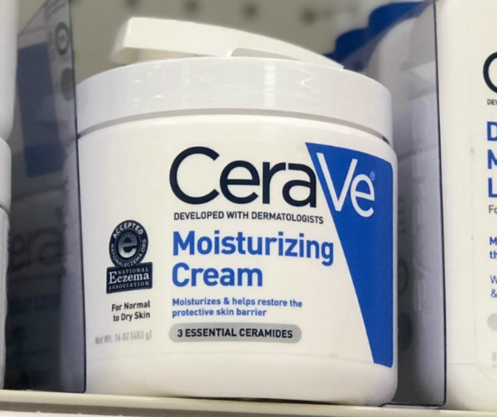 Jar of Moisturizing Cream from CeraVe on shelf in store