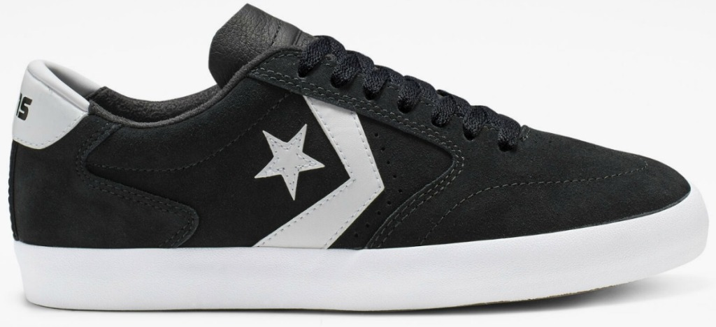 Black with white details on Converse shoes unisex