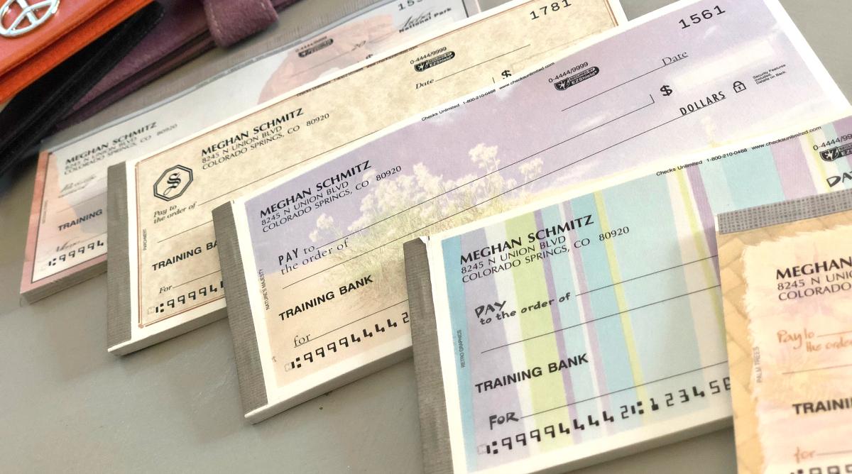 set of four checks on counter