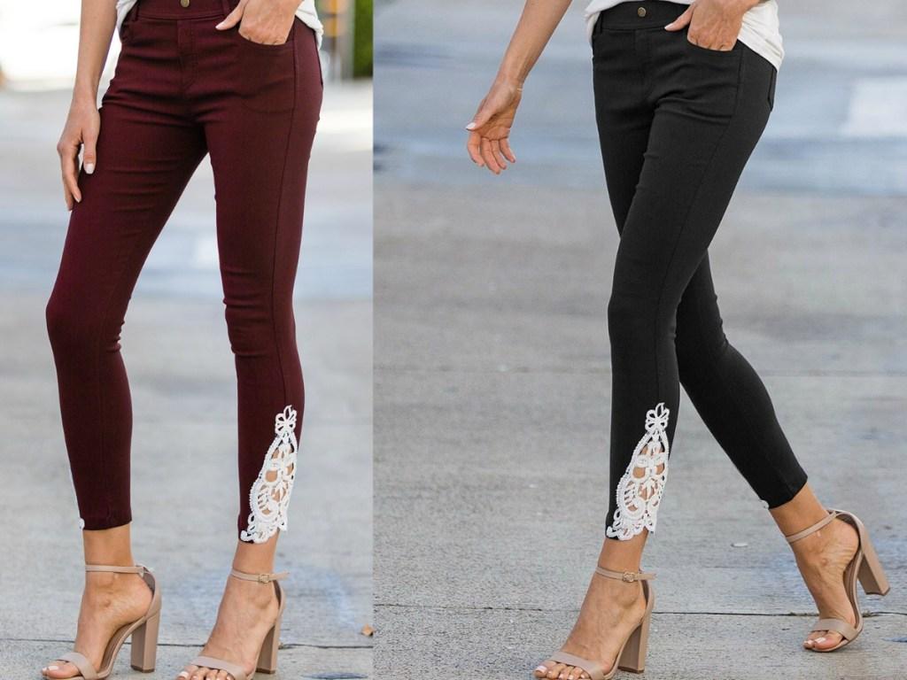 womans legs modeling maroon and black crochet pants