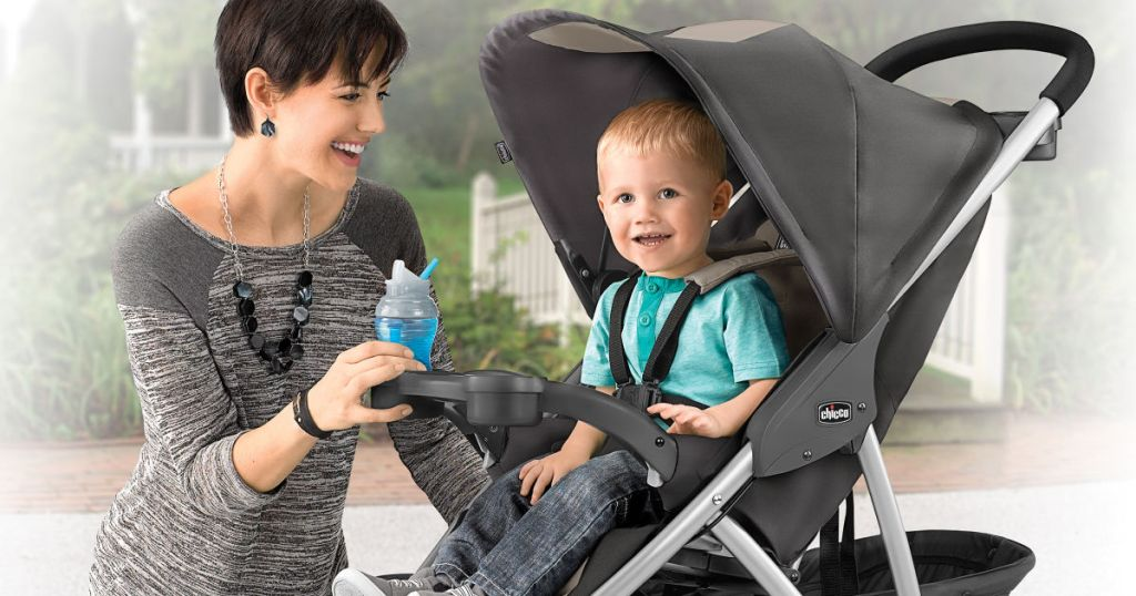 Mom and son with Chicco Viaro Quick-Fold Stroller outside