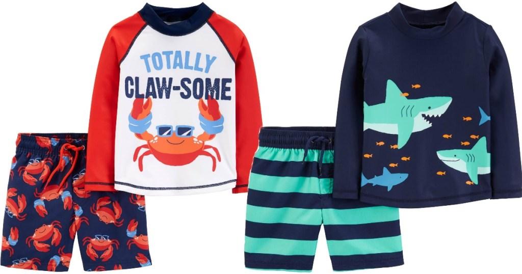 Carter's Rashguard Sets featuring shark and crab