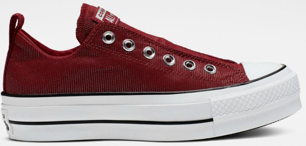 Converse brand chucks in maroon color slip on shoes