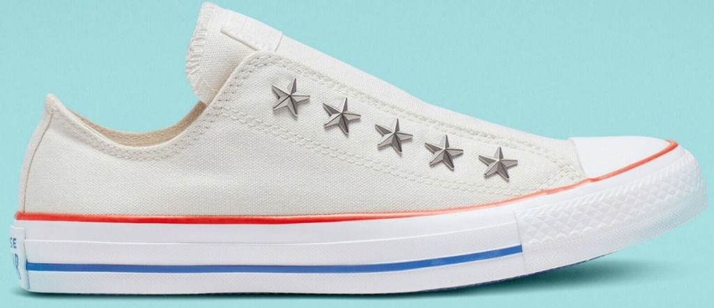 Red White and Blue Converse slip-on shoes with silver star detailing