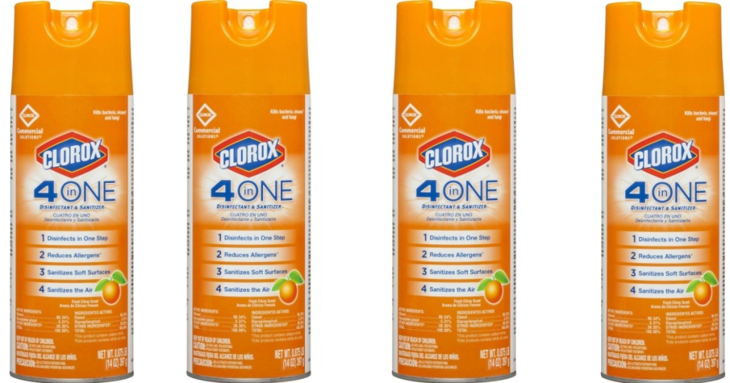 four cans of Clorox sanitizer spray