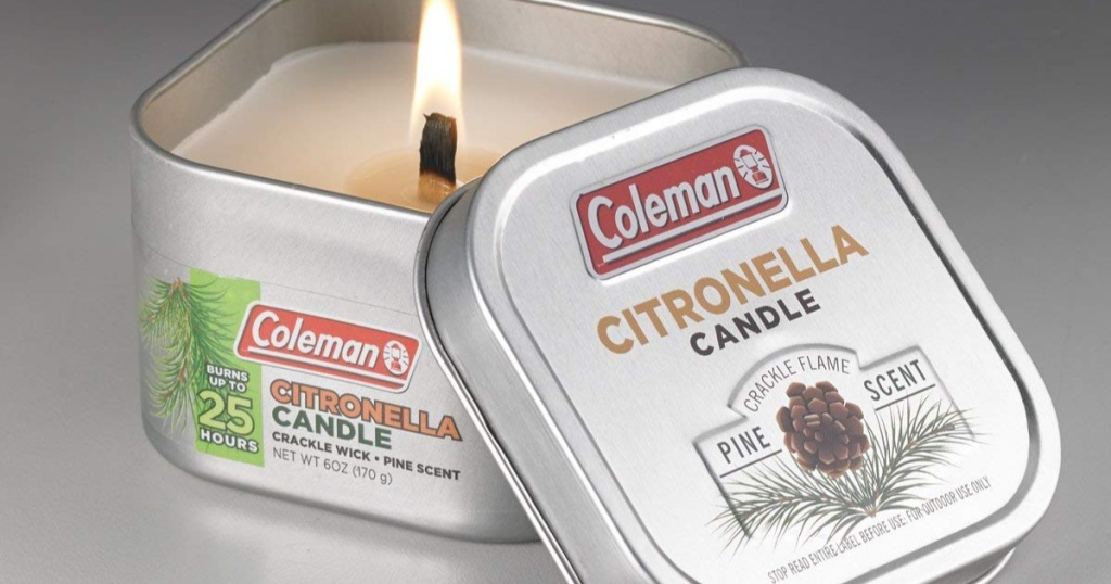 lit coleman pine scented citronella candle