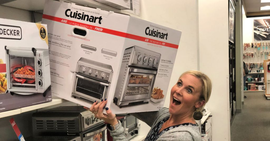 Collin holding Cuisinart Air Fryer at Kohl's