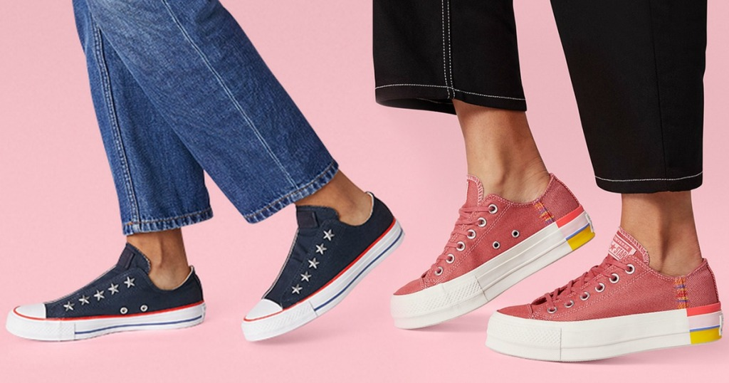 Women wearing Converse brand shoes in low top styles one with star details