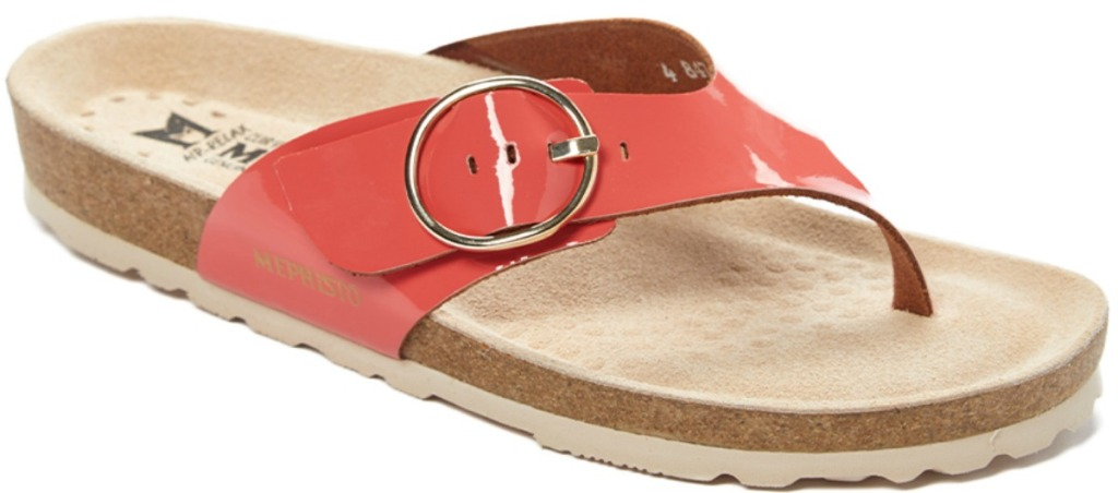 Coral colored leather sandals
