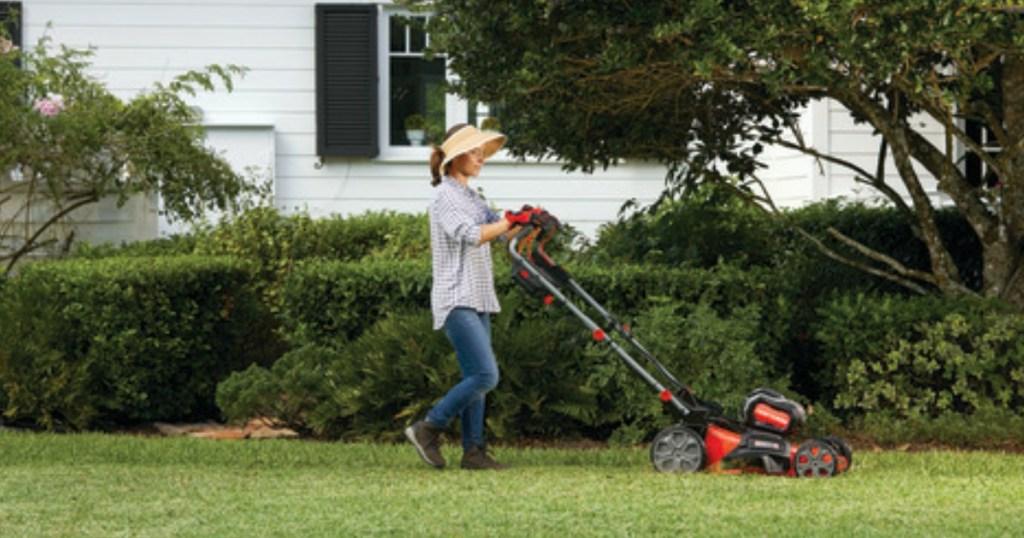 woman pushing Craftsman self-propelled mower