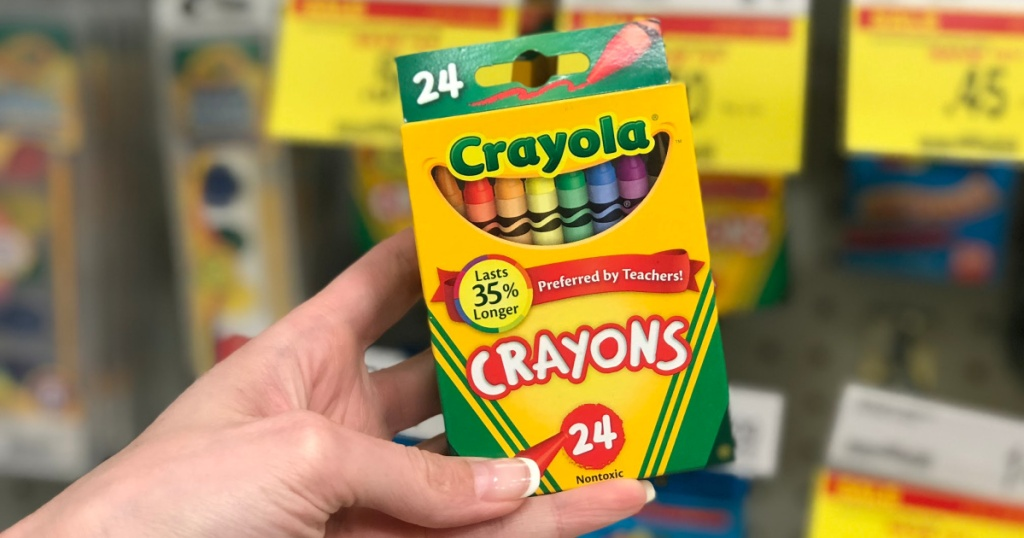 Crayola Crayons in package in hand in store