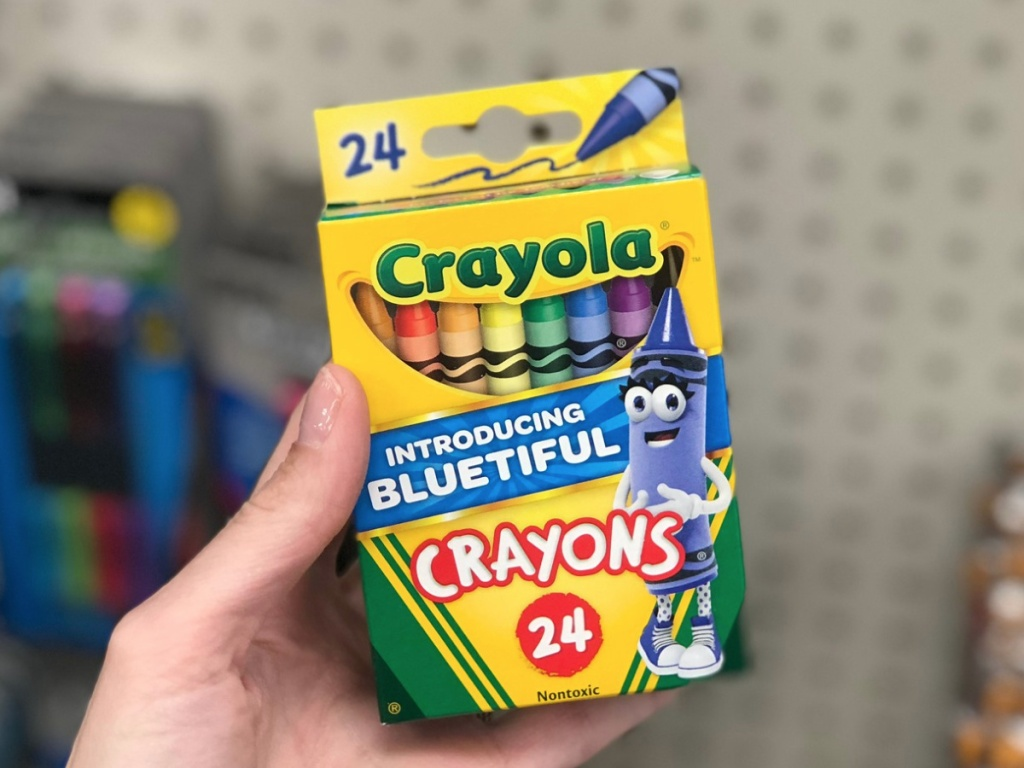 Hand holding Crayola Crayons 24 Pack
