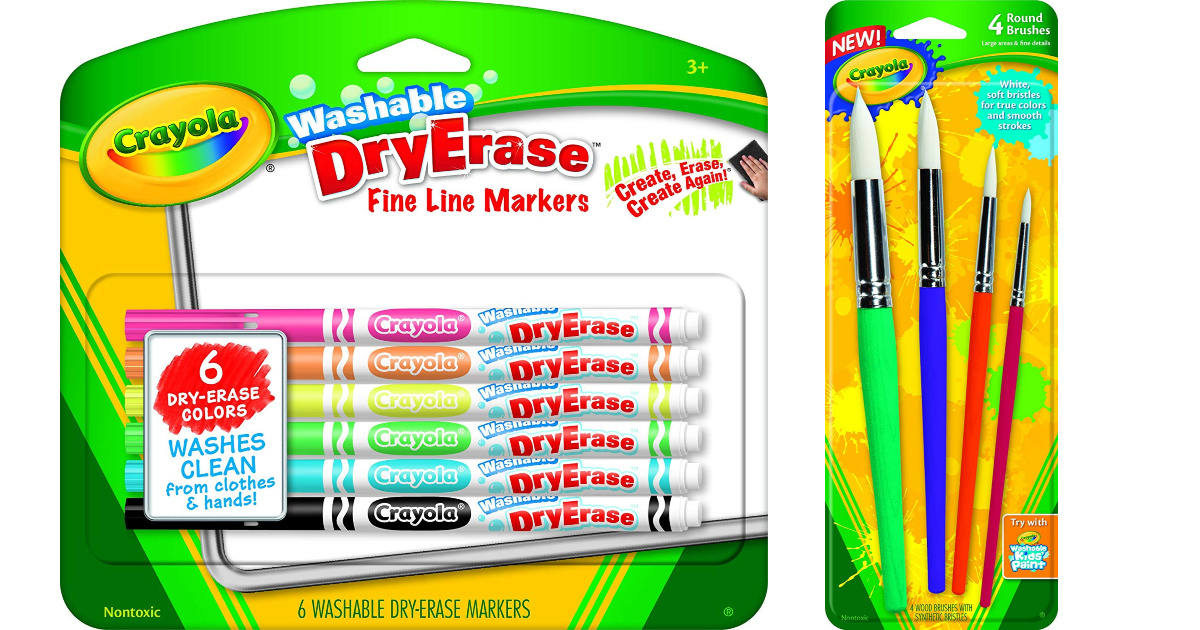 crayola dry erase markers and paintbrushes