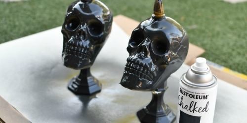 DIY Dollar Tree Skull Candlesticks Halloween Decor