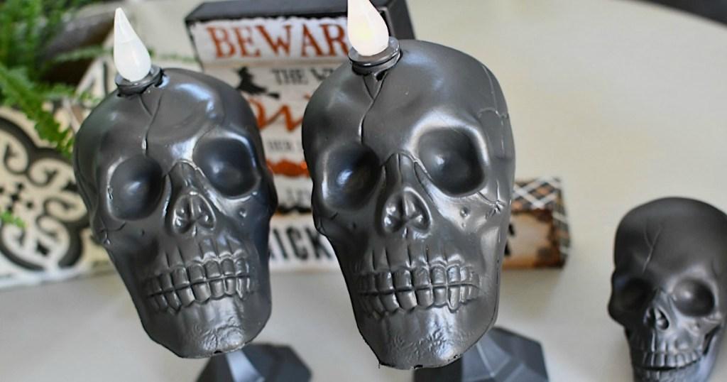 Skull Candlesticks Halloween DIY