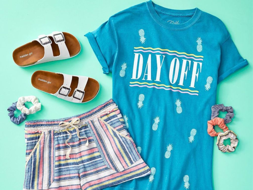 Cold Crush Day Off Shirt with striped shorts and sandals