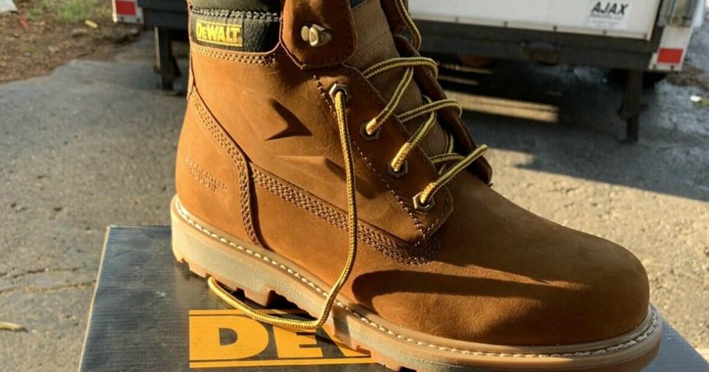Dewalt Work Boots on shoe box
