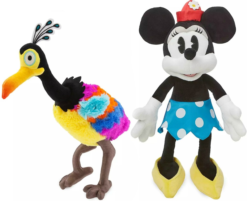 Two Disney plush medium sized - Kevin from Up! and Minnie Mouse classic style