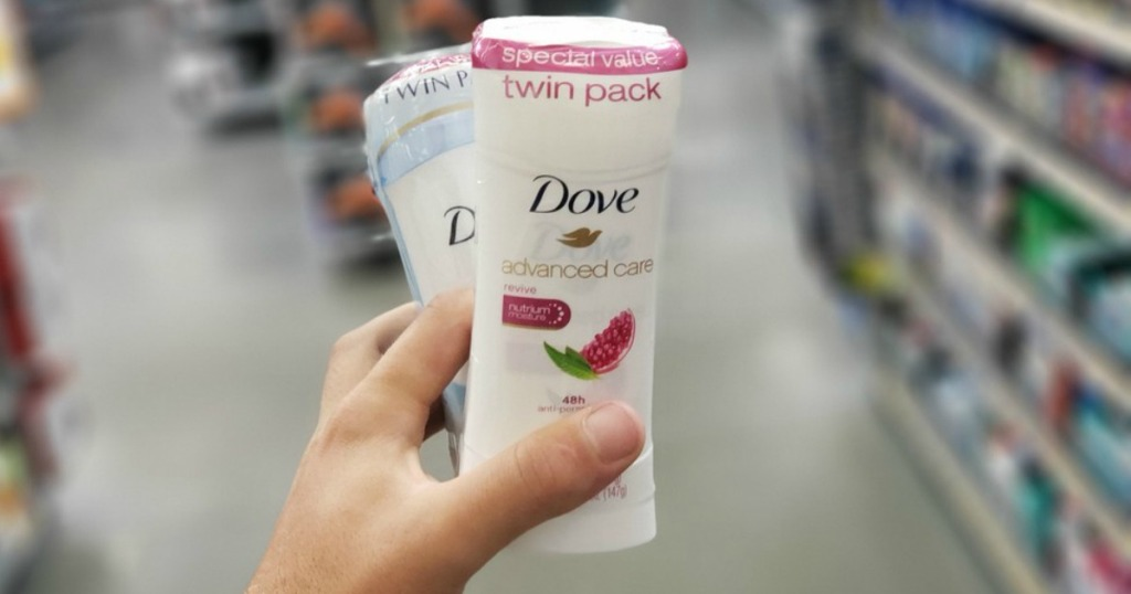 Dove Advanced Care Deodorant Twin Pack being held