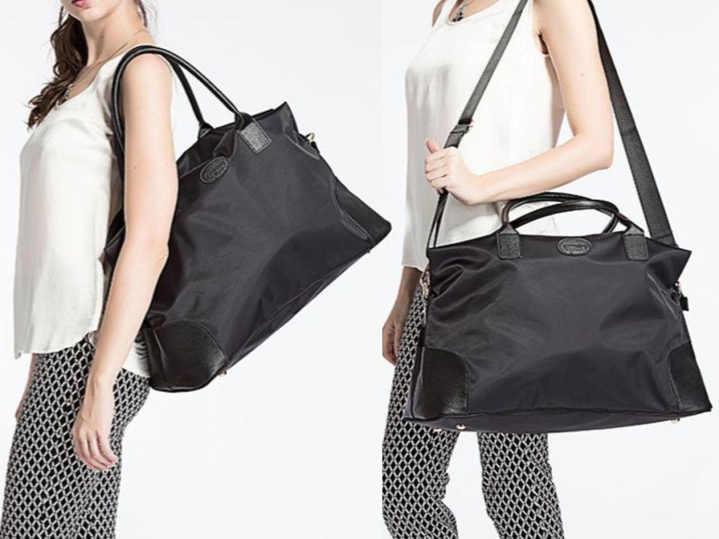 woman wearing black ECOSUSI Large Travel Weekender Bag on shoulder