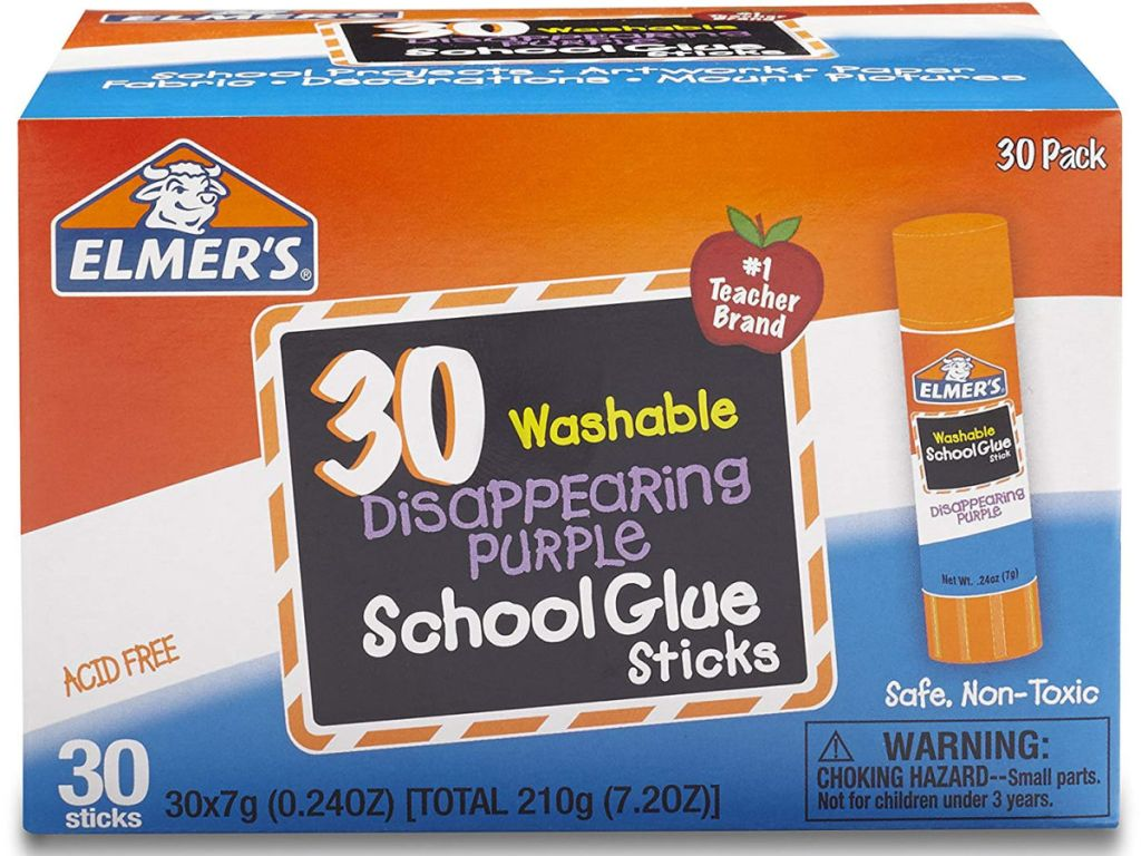 Elmer's Disappearing Purple School Glue Sticks 30 Count