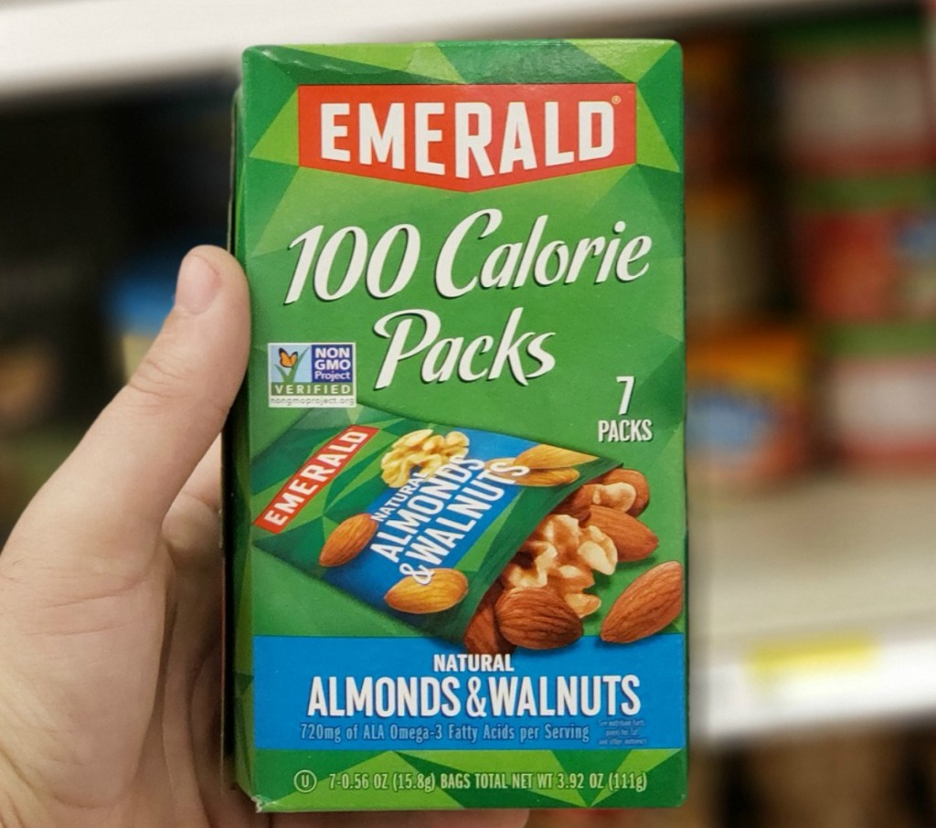 Emerald brand 100 calorie packs in box and store