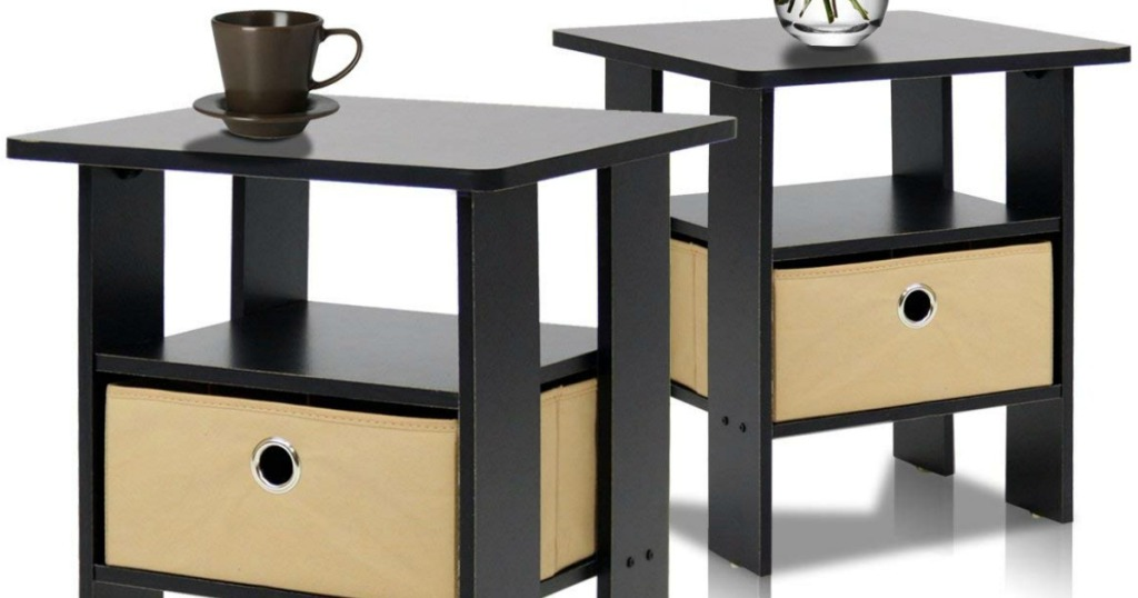 Two dark brown end tables with fabric bins