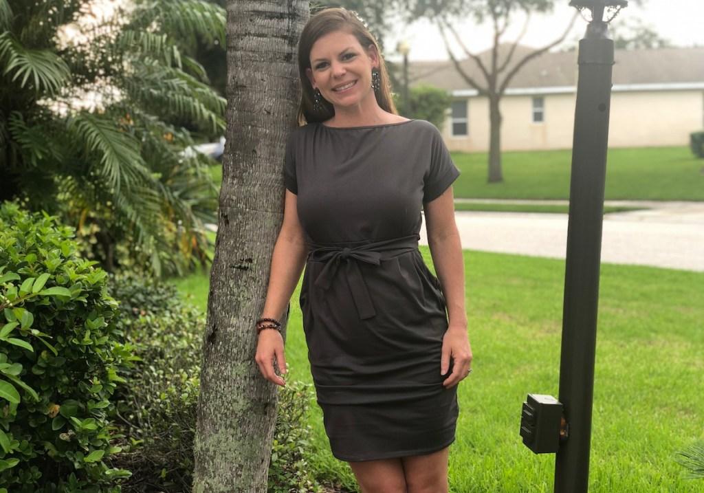woman wearing t-shirt wrap dress outside
