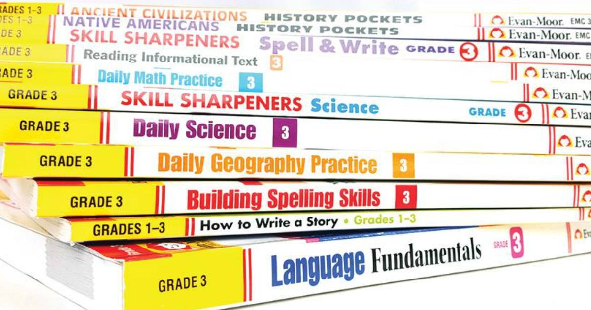 Evan Moor Education Books in stack for Teachers or Homeschoolers