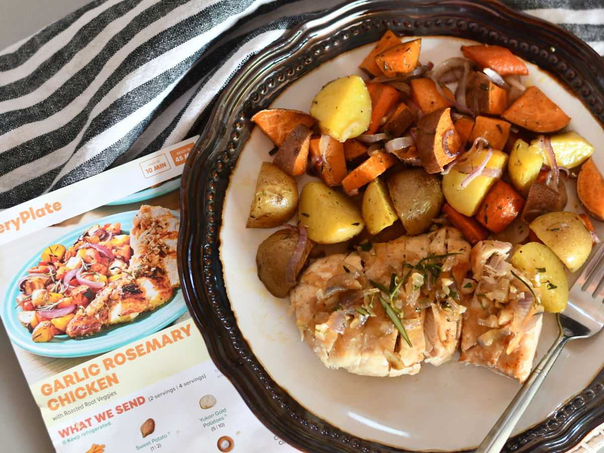 Every Plate Garlic Rosemary chicken on plate