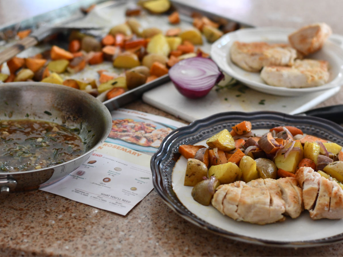 Every Plate Garlic Rosemary chicken plate with saute pan