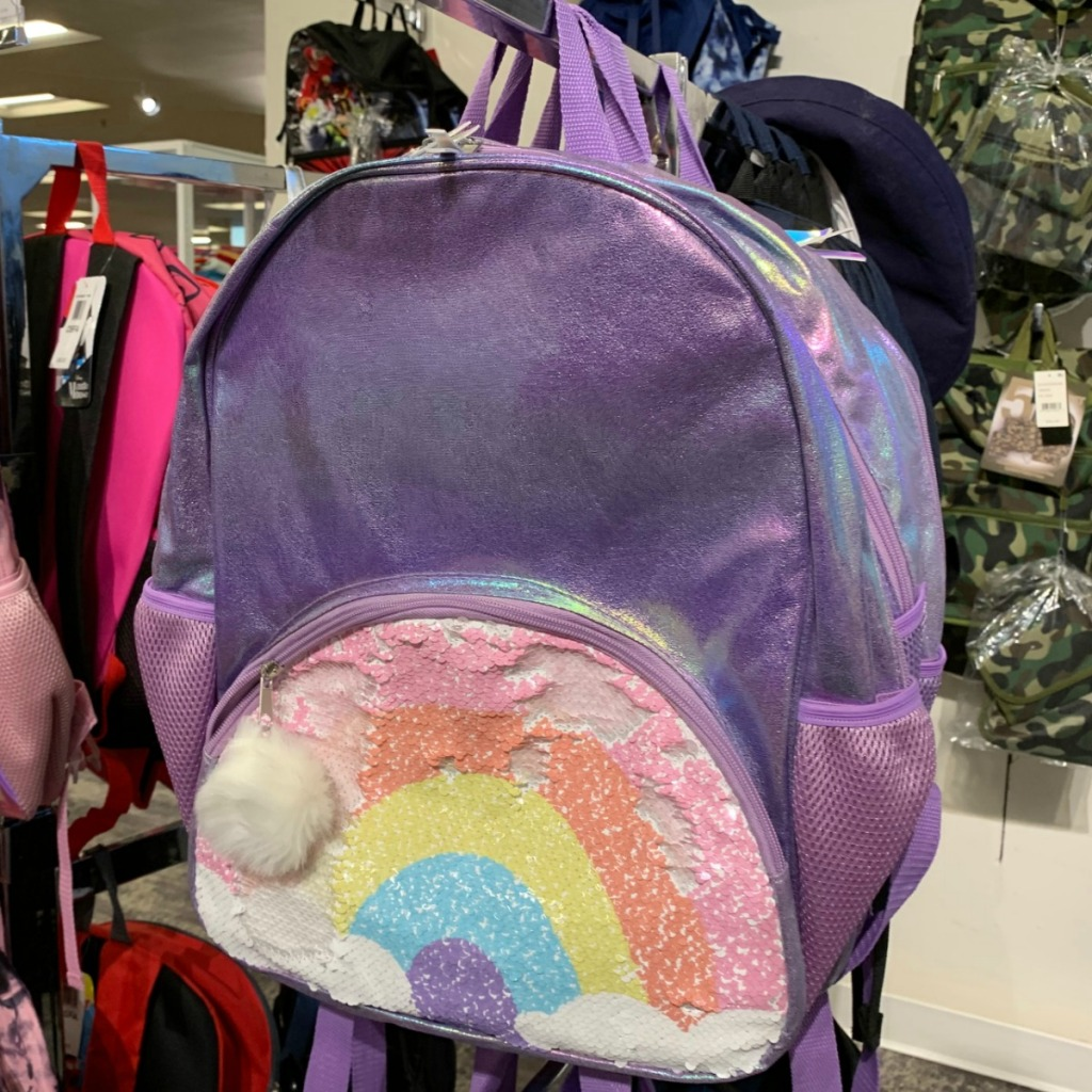 Rainbow themed purple backpack for girls from Macy's