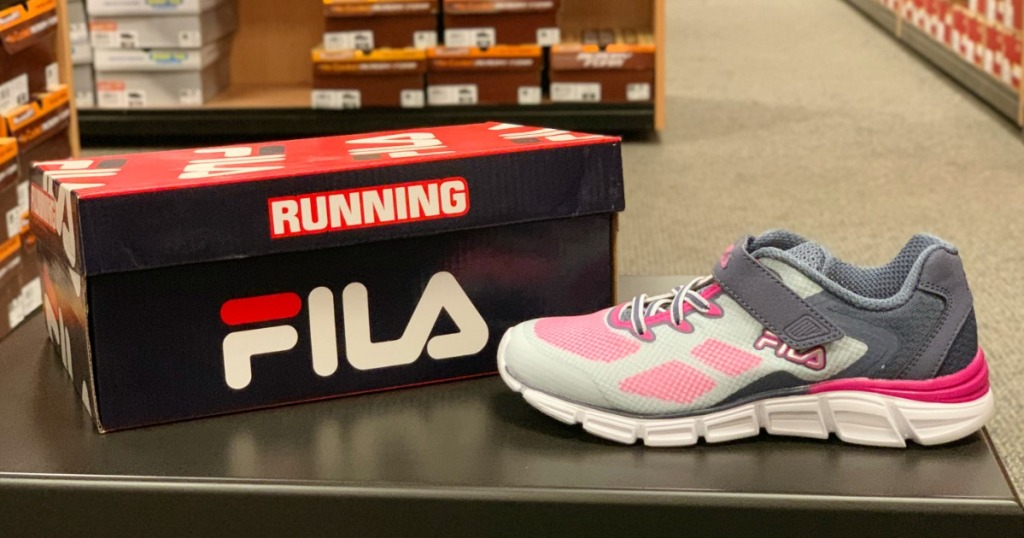 FILA shoe box next to shoes