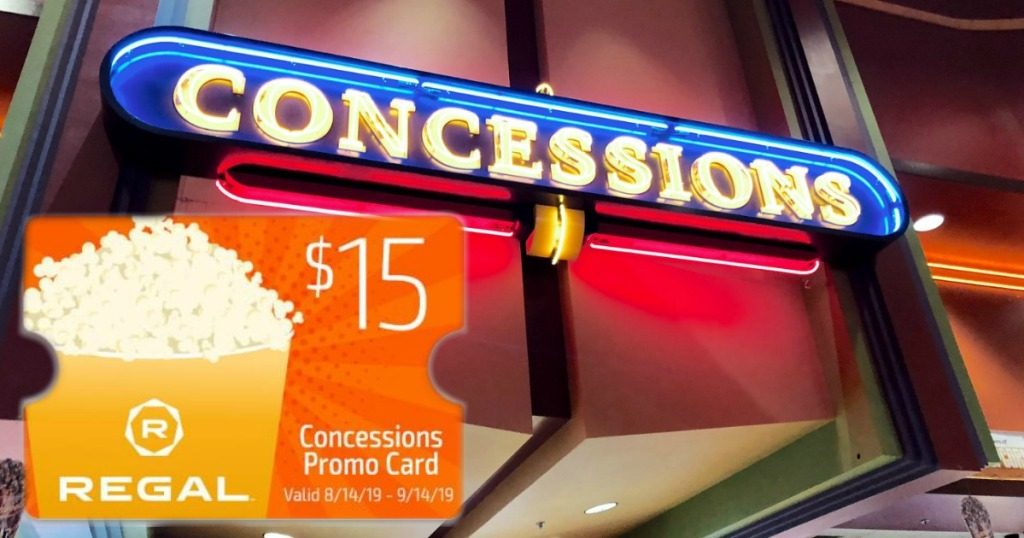 FREE $15 concessions stand promo card from Regal Theaters in front of concession display