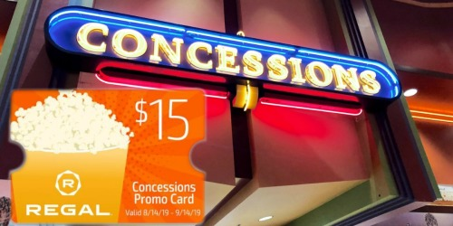 FREE $15 Concession Card w/ Regal Theaters $50 eGift Card Purchase