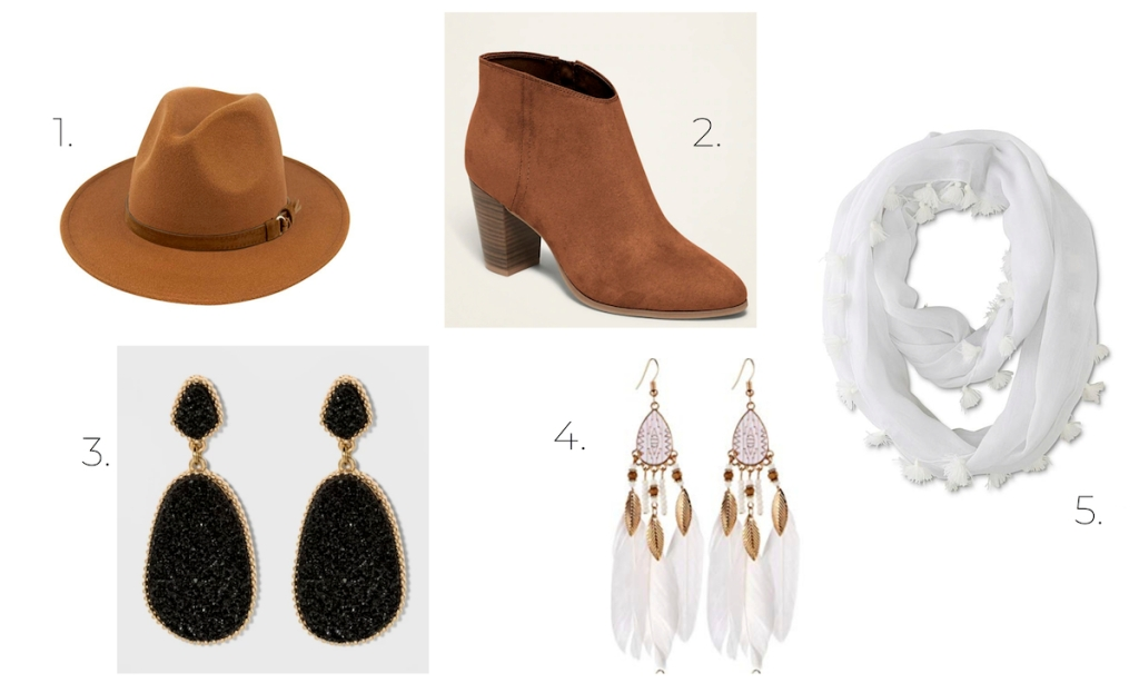 fall accessories brown hat and booties white scarf and earrings