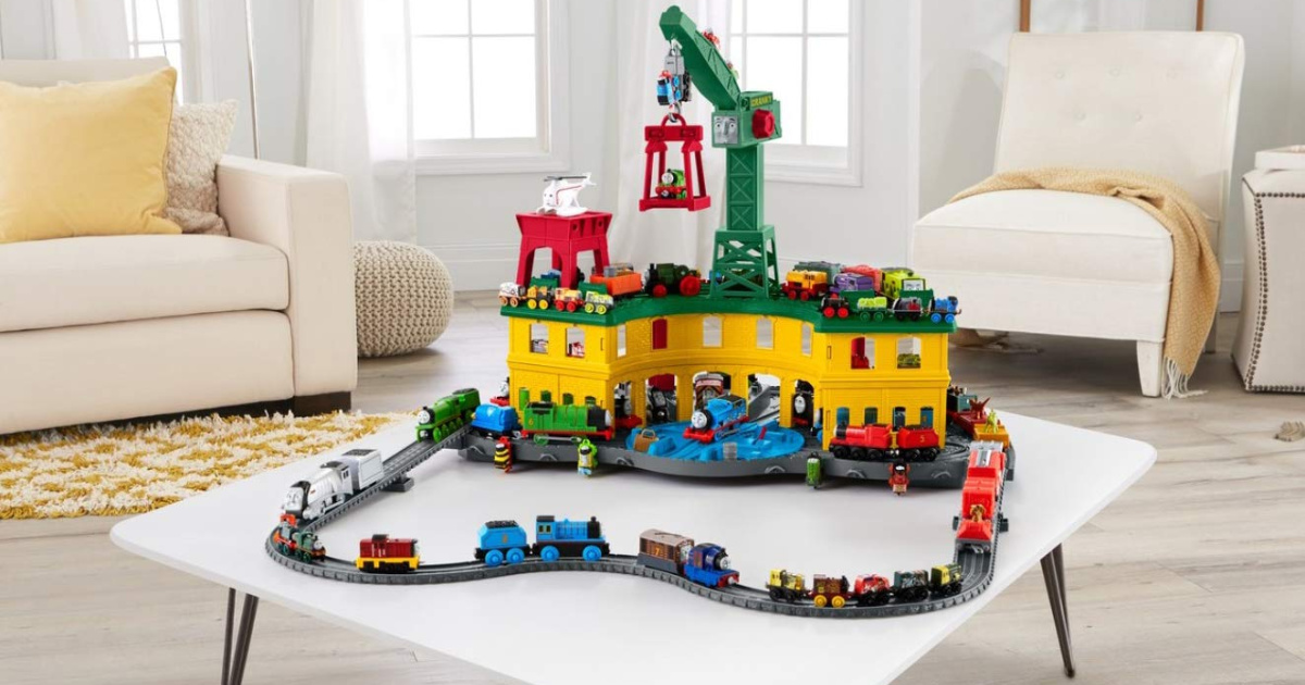 thomas and friends super station playset on table