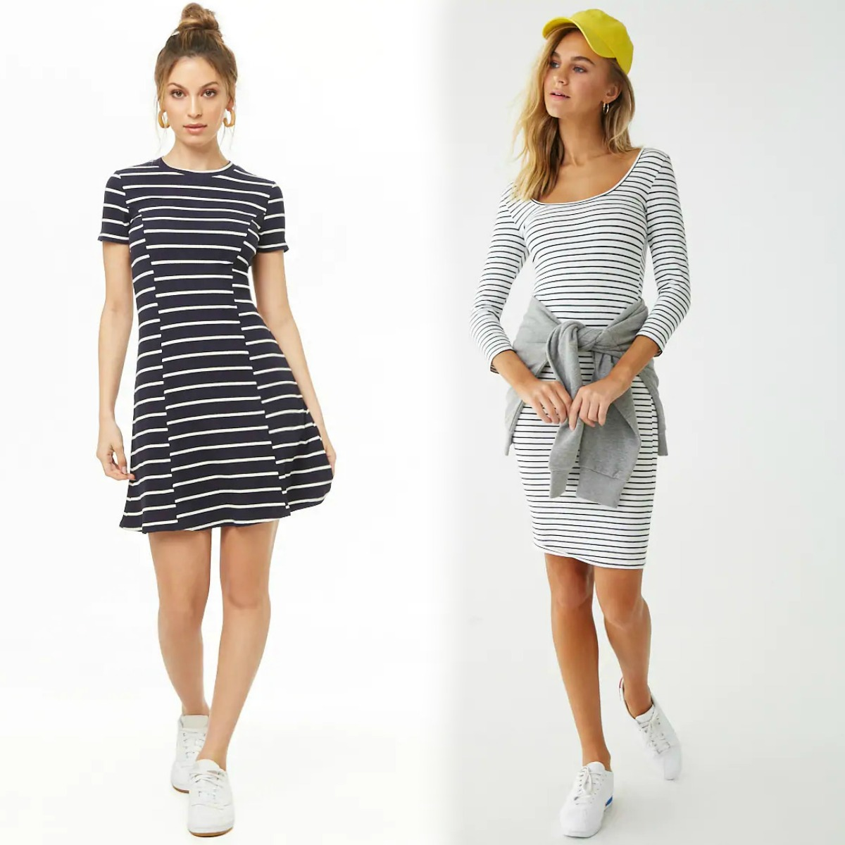 Two women wearing two different styles of Forever 21 dresses