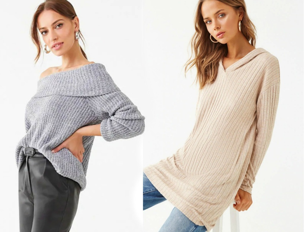 Women wearing Forever 21 brand sweaters in two different styles