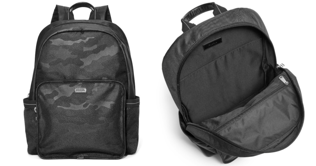 fossil travis black camo backpack