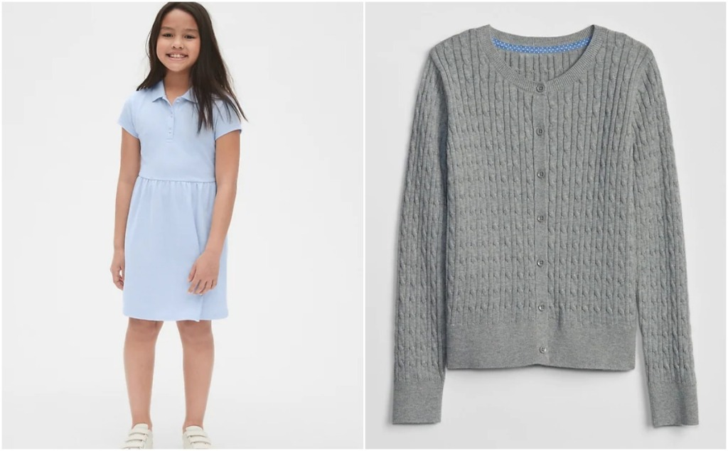 girl in blue polo dress and gray sweater