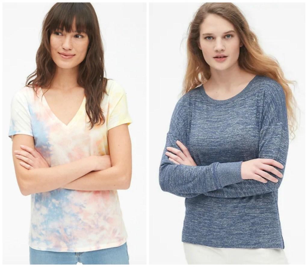 two women wearing GAP shirts