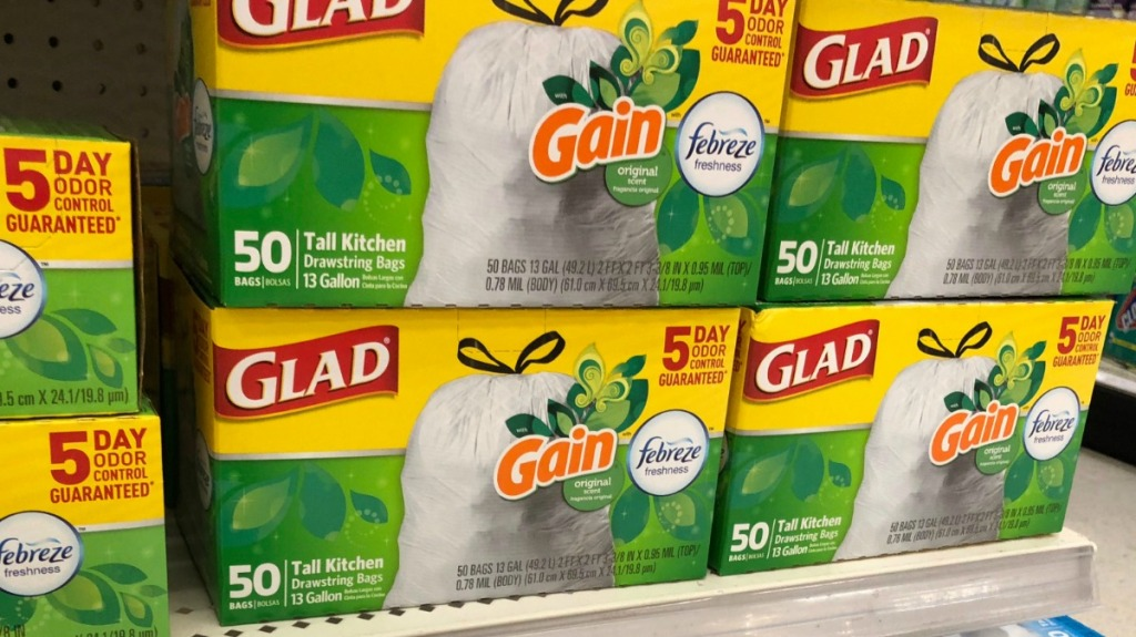 Multiple boxes of Glad Trash Bags on store shelf
